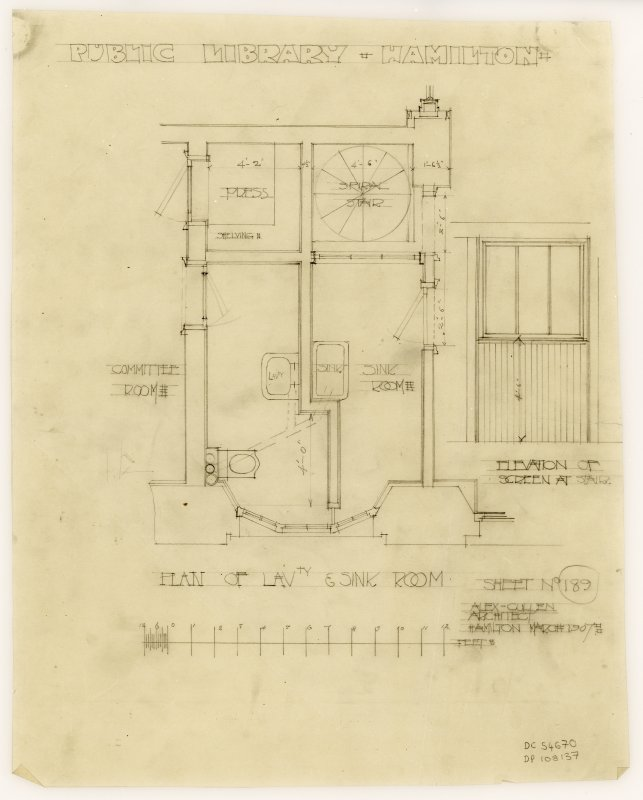 A plan of lavatory and sink room in Hamilton Public Library.