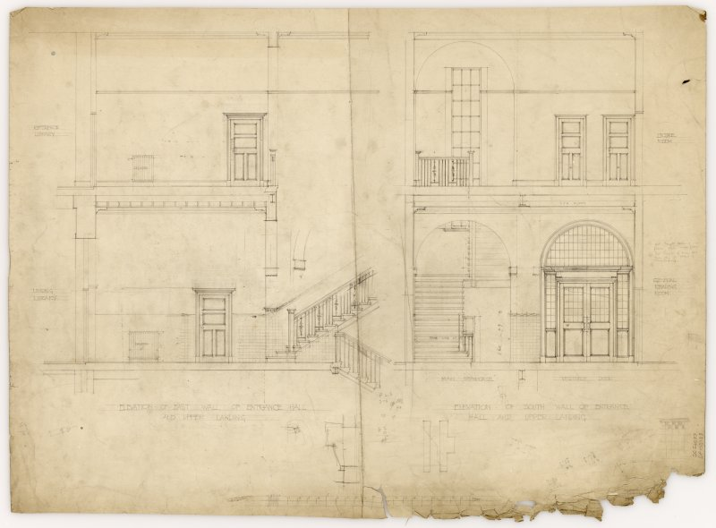 Elevations of East and South walls of Hamilton Public Library's entrance hall and upper landing.