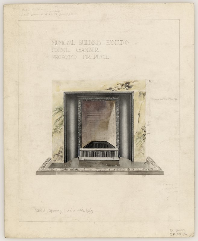 Proposed fireplace for Council Chamber in Hamilton Municipal Buildings.