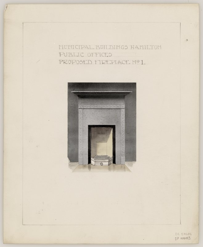 Proposed fireplace No. 1 for Public Offices in Hamilton Municipal Buildings.