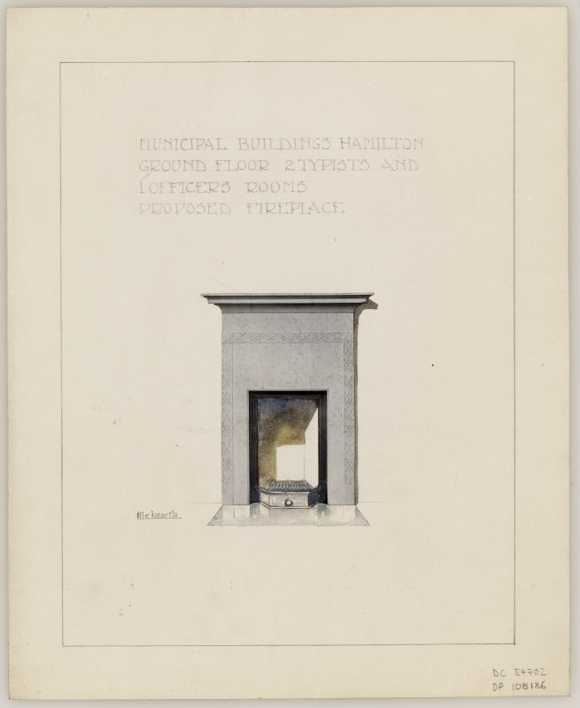 Proposed fireplace for Ground Floor, 2 Typists' and 1 Officers' Rooms in Hamilton Municipal Buildings.