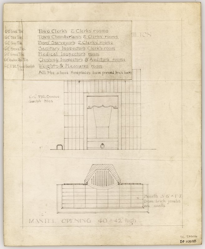 Proposed fireplace for Caretaker's Parlour, Public Rooms, in Hamilton Municipal Buildings.