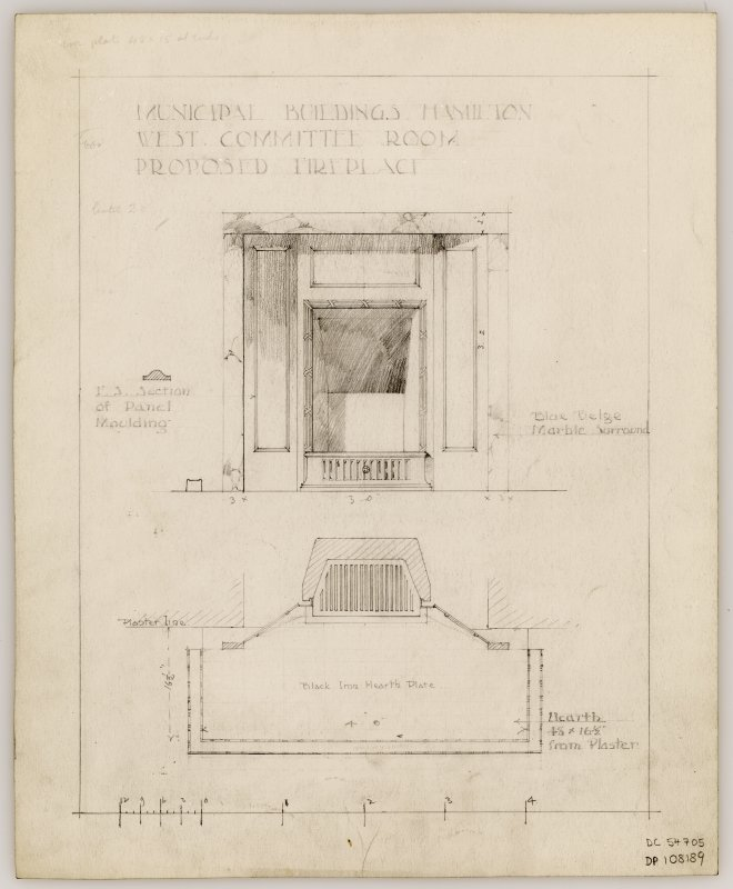 Proposed fireplace for West Committee Room in Hamilton Municipal Buildings.