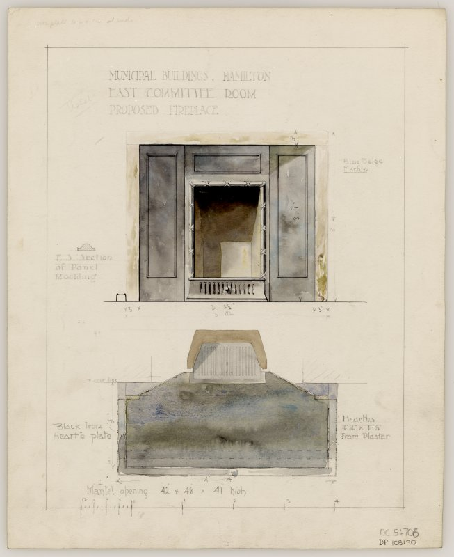 Proposed fireplace for East Committee Room in Hamilton Municipal Buildings.