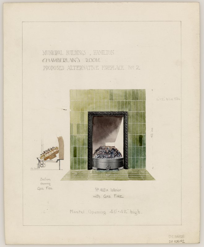 Proposed alternative fireplace No. 2 for Chamberlain's Room in Hamilton Municipal Buildings.