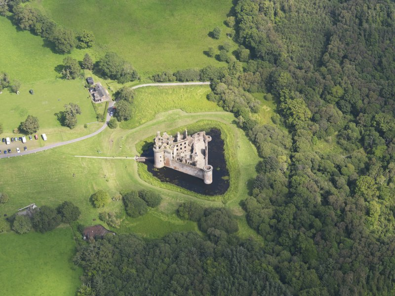 General oblique aerial view of Caerlaverock Castle, taken from the WSW.