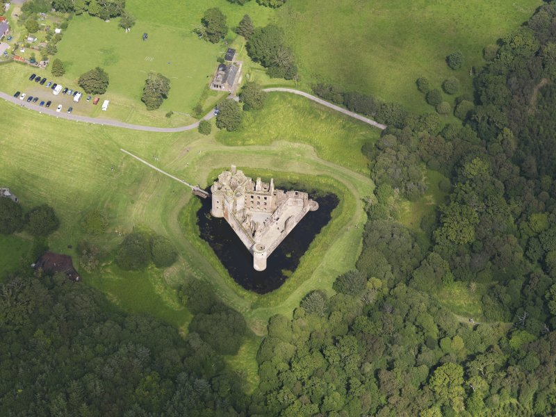 Oblique aerial view of Caerlaverock Castle, taken from the SW.