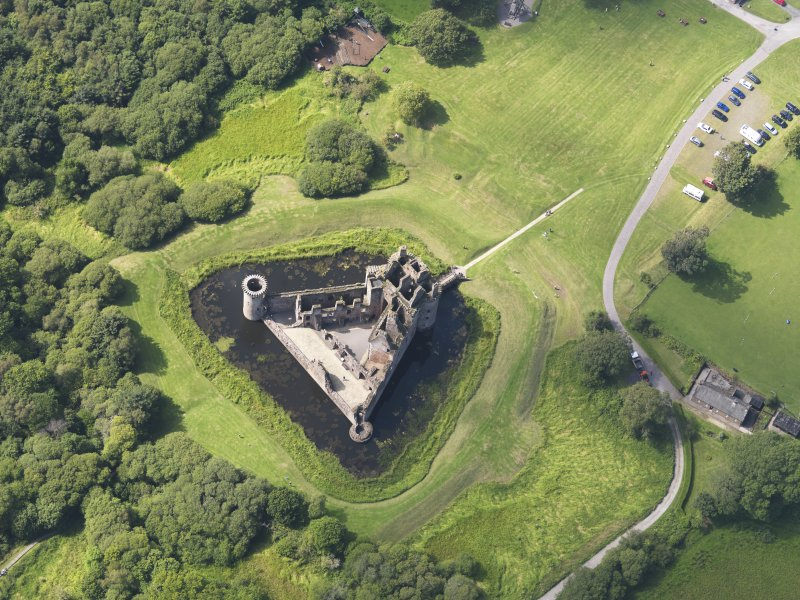 Oblique aerial view of Caerlaverock Castle, taken from the ESE.