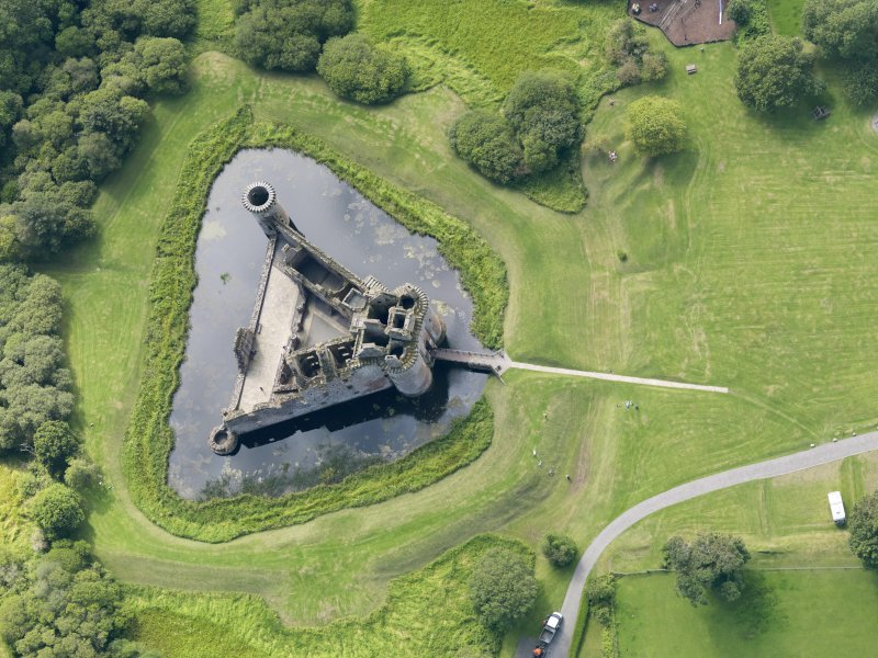Oblique aerial view of Caerlaverock Castle, taken from the ENE.