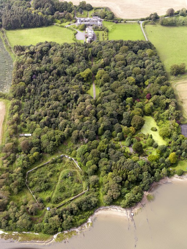 General oblique aerial view of Arbigland House and policies, taken from the ESE.