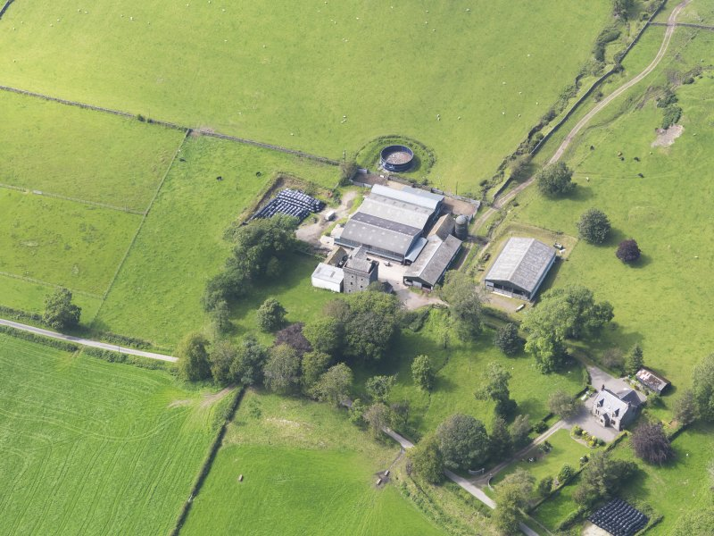 Oblique aerial view of Drumcoltran Tower, taken from the ESE.