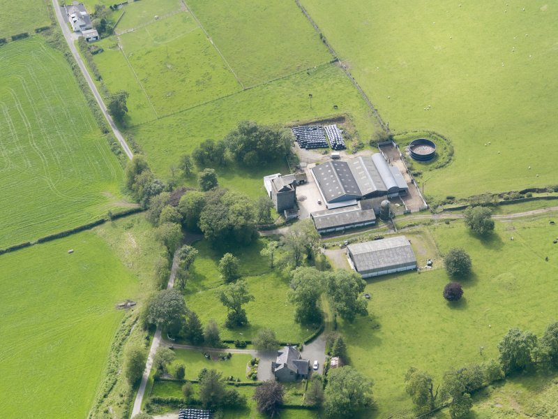 Oblique aerial view of Drumcoltran Tower, taken from the ENE.
