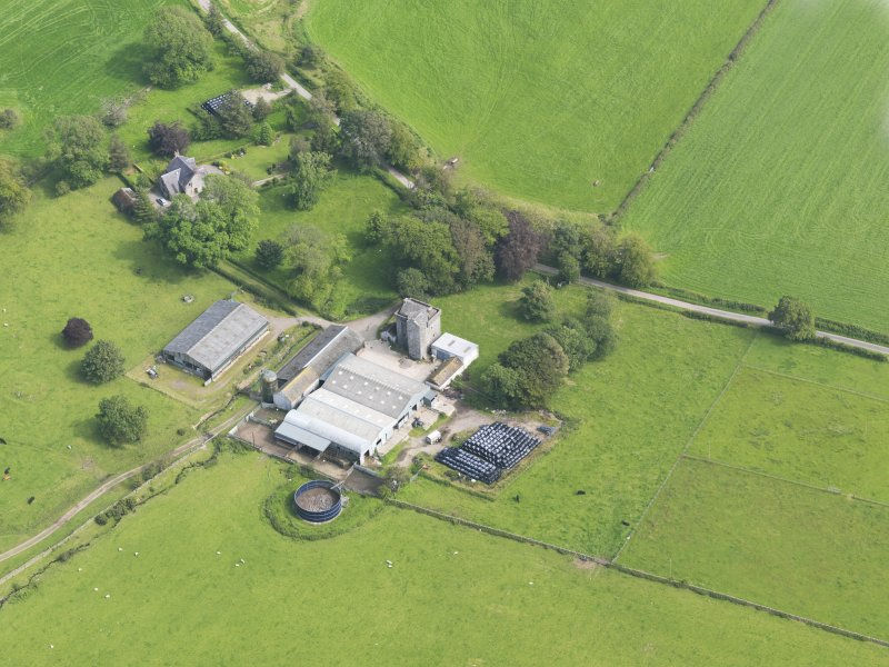Oblique aerial view of Drumcoltran Tower, taken from the WNW.
