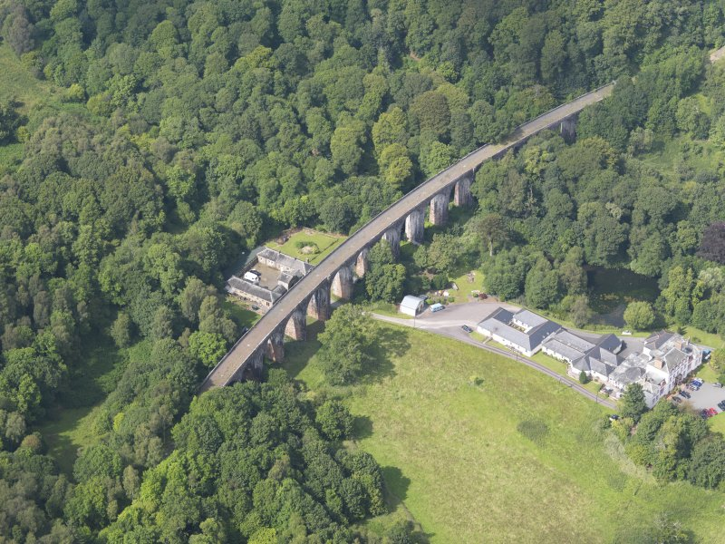 General oblique aerial view of Goldielea Country House and Viaduct, taken from the SSE.