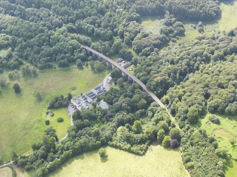 General oblique aerial view of Goldielea Country House and Viaduct, taken from the ENE.