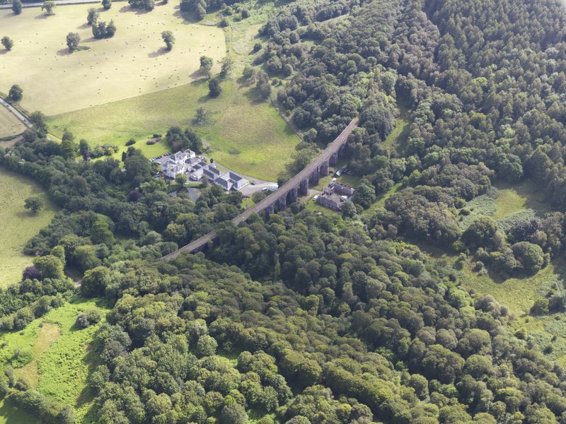 General oblique aerial view of Goldielea Country House and Viaduct, taken from the NNW.