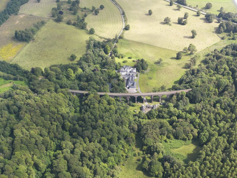 General oblique aerial view of Goldielea Country House and Viaduct, taken from the NW.