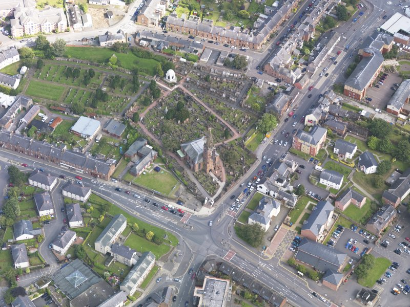 Oblique aerial view of Dumfries, centred on St Michael's Church, taken from the WNW.