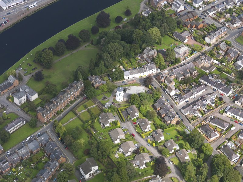 Oblique aerial view of Dumfries Burgh Museum and Observatory, taken from the W.