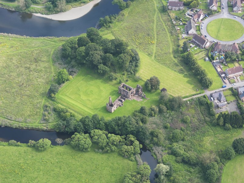 Oblique aerial view of Lincluden College, taken from the NW.