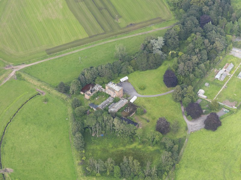 Oblique aerial view of Carnsalloch House, taken from the SSW.