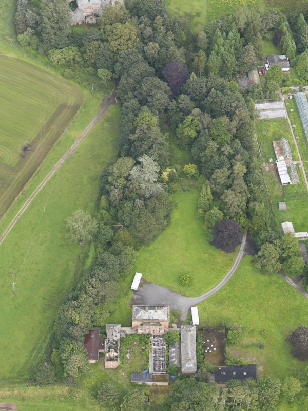 Oblique aerial view of Carnsalloch House and walled garden, taken from the WSW.