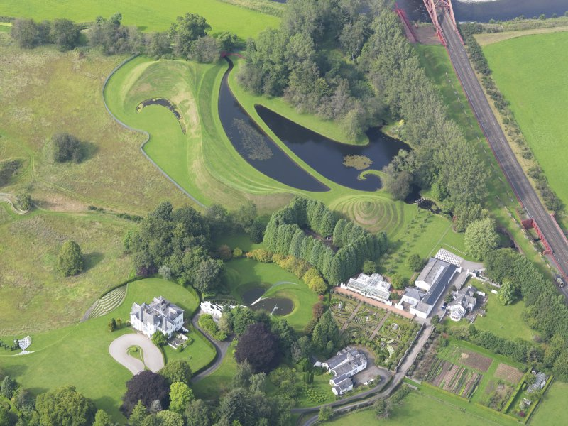 Oblique aerial view of Portrack House and gardens, taken from the S.