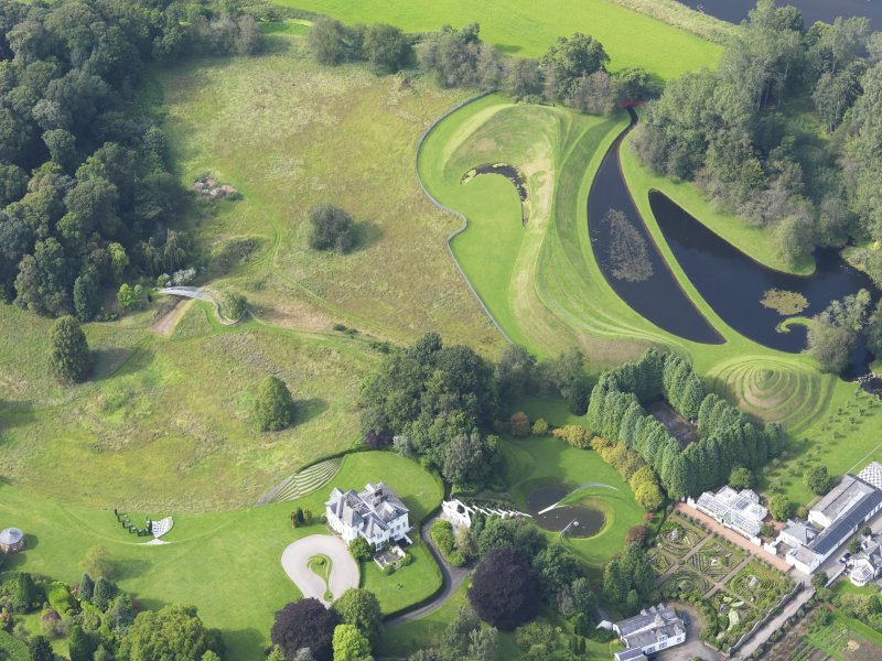 Oblique aerial view of Portrack House and gardens, taken from the SSE.