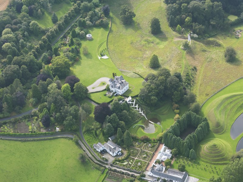 Oblique aerial view of Portrack House and gardens, taken from the E.