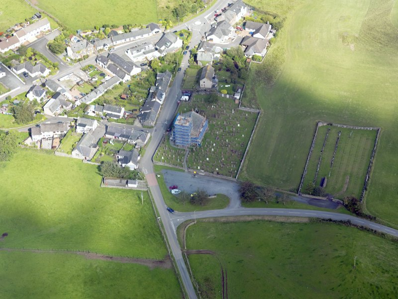 Oblique aerial view of Dunscore Parish Church, taken from the W.