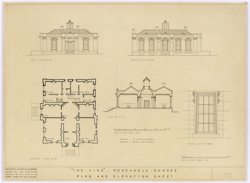 Drawing showing plan, elevations & details.