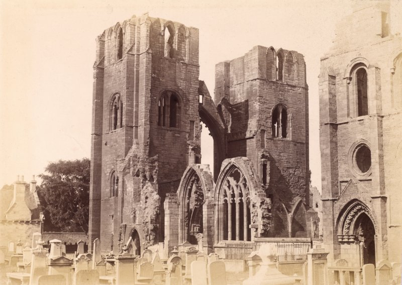 View of towers from SE.  Titled: 'Elgin Cathedral.'
