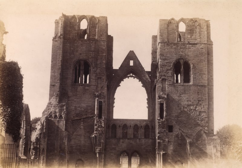Interior view of Elgin Cathedral from east.