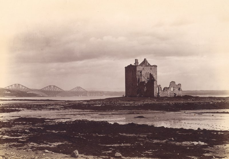 View of Rosyth Castle with the Forth Railway Bridge in the background seen from the North West.  Titled: 'Rosyth Castle.'