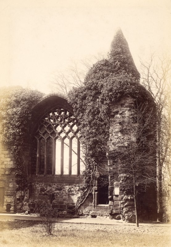 View of ruins showing window  Titled: 'Dunfermline Abbey.'