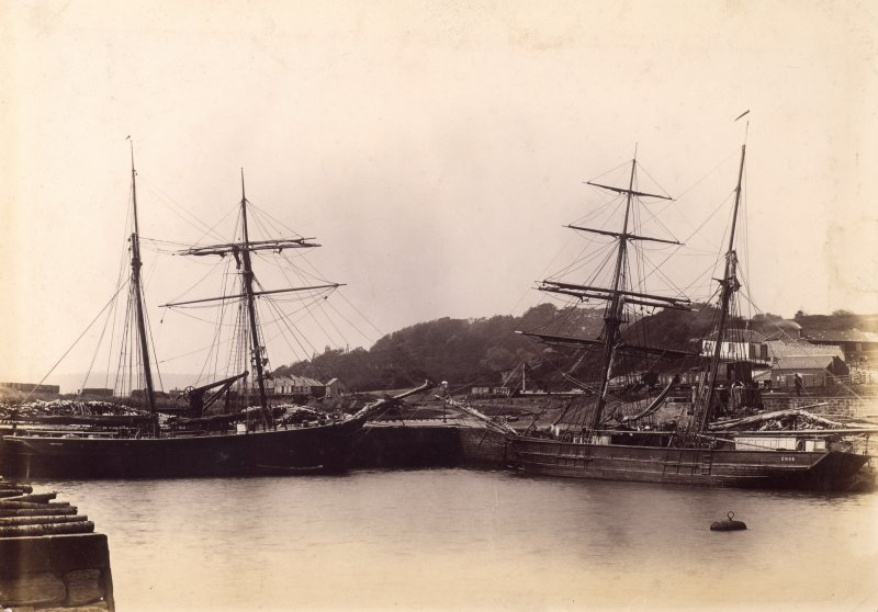 View of sailing ships in harbour. Titled: 'Charlestown Harbour.'