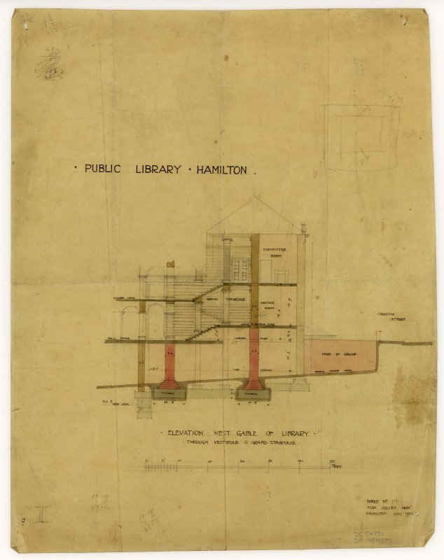 Elevation of the West Gable of Hamilton Public Library.