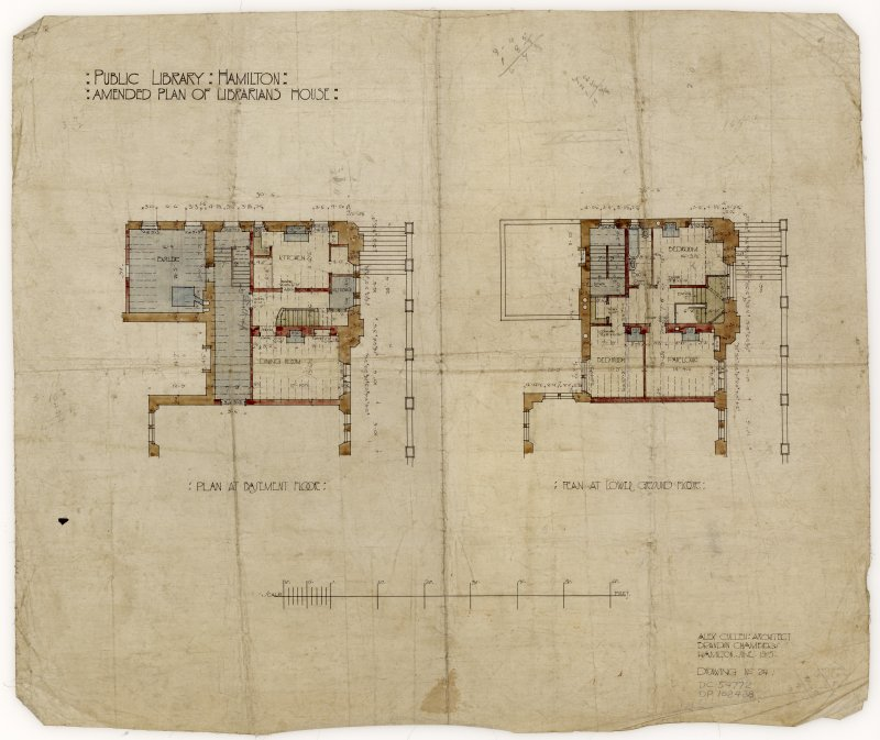 Amended plans of the Librarian's House in Hamilton Public Library.