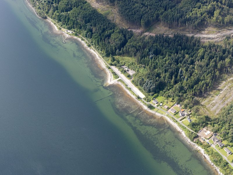 Oblique aerial view of jetty at Blair's Ferry, taken from the NNE.