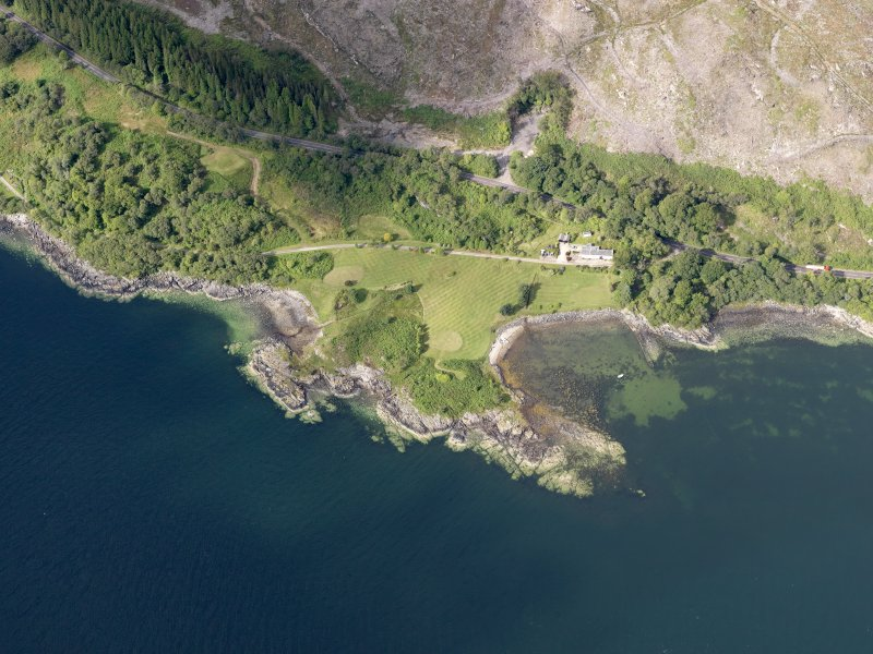 Oblique aerial view of the jetty and North Lodge, taken from the ENE.