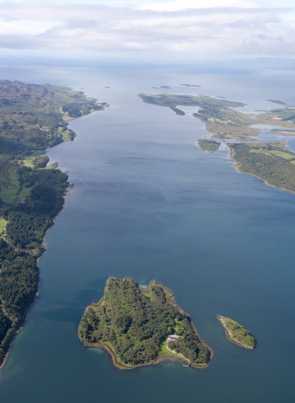 General oblique aerial view of Eilean Loain and Loch Sween, taken from the NE.