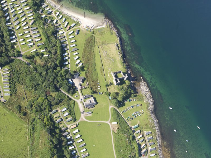 Oblique aerial view of Castle Sween, taken from the NE.