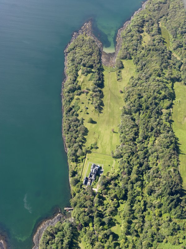 Oblique aerial view of Ellary House and policies, Loch Caolisport, taken from the NNE.