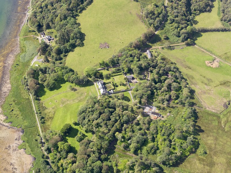 Oblique aerial view of Ardpatrick House and policies, taken from the NE.