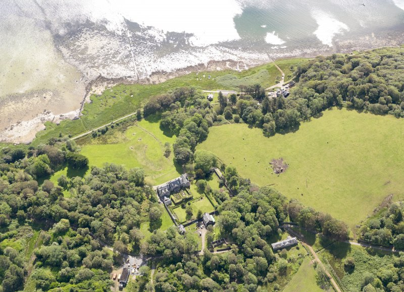 Oblique aerial view of Ardpatrick House and policies, taken from the NW.