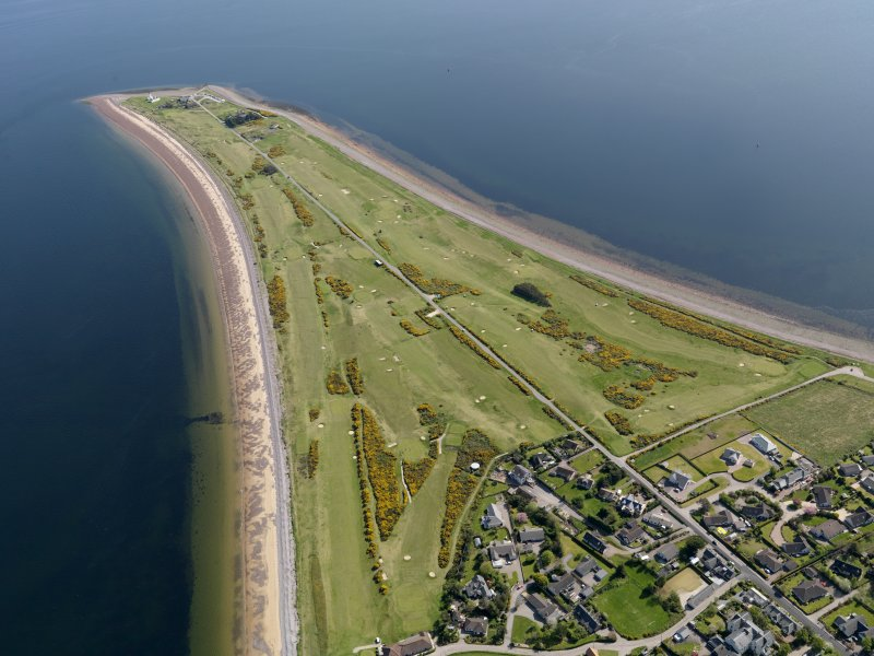 Oblique aerial view of Fortrose and Rosemarkie Golf Course, taken from the NNW.
