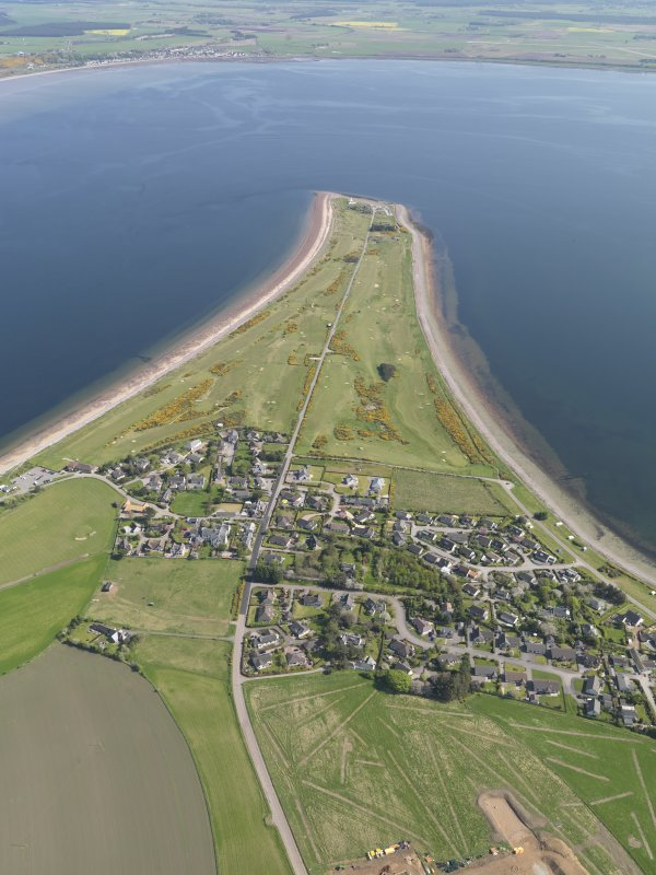 Oblique aerial view of Fortrose and Rosemarkie Golf Course, taken from the WNW.