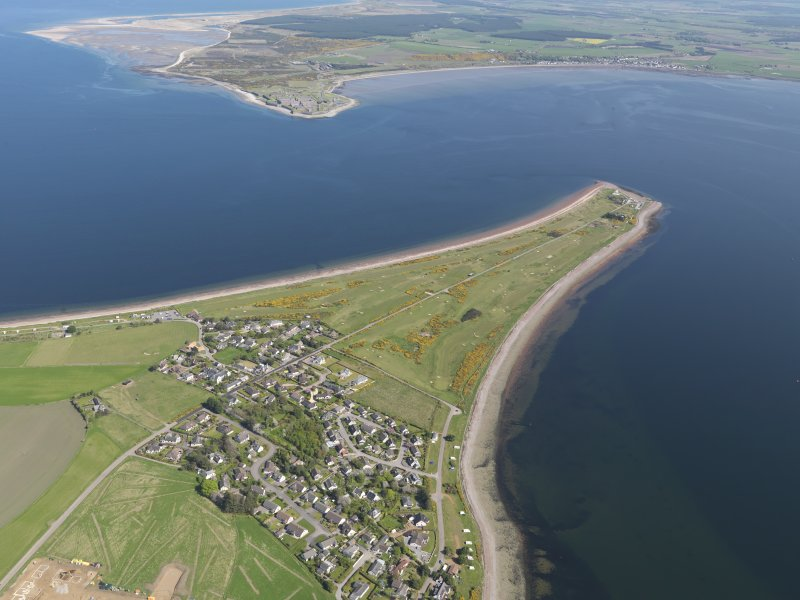 Oblique aerial view of Fortrose and Rosemarkie Golf Course, taken from the WSW.