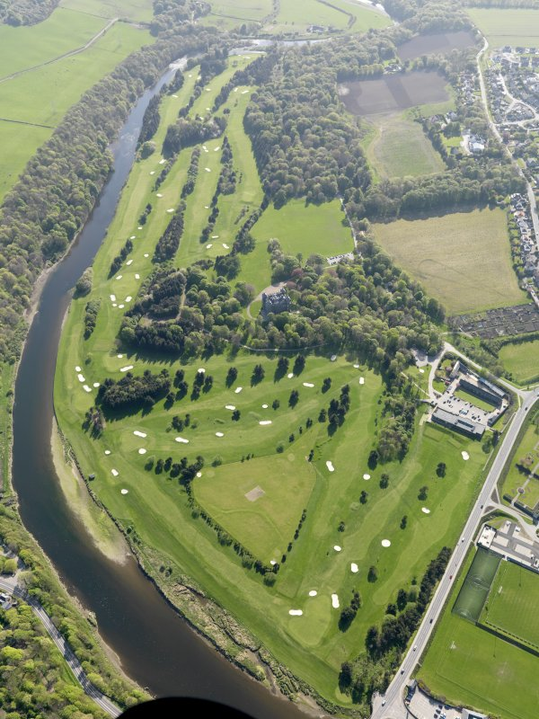 Oblique aerial view of Duff House Royal Golf Course, taken from the NE.