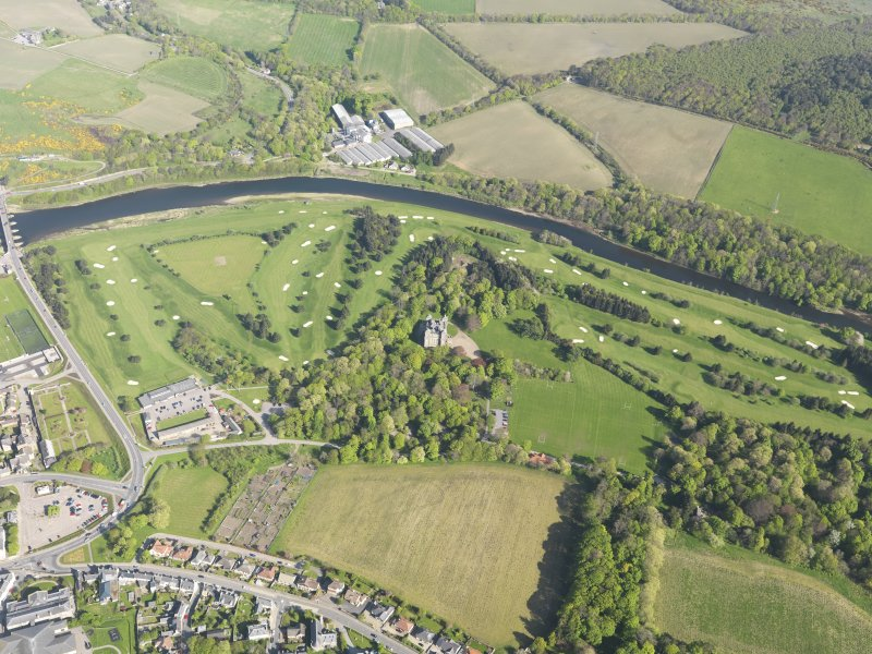Oblique aerial view of Duff House Royal Golf Course, taken from the NW.